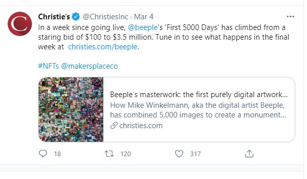 Аукцион NFT Christie
