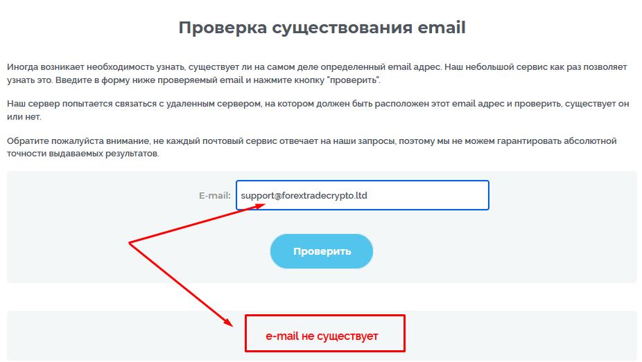 Проверка email Forextrade Crypto